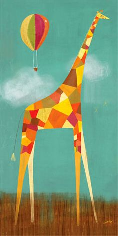 Modern giraffe art is the perfect piece to complete a safari theme room!