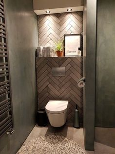Bathroom - Look inside at about_interiors - Badkamer – Binnenkijken bij about_interiors look at about_interiors - Small Toilet Room, Small Toilet Design, Guest Toilet, Downstairs Toilet, Modern Toilet Design, Bathroom Design Luxury, Modern Bathroom Decor, Bathroom Design Small, Bathroom Toilets
