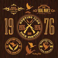Vector Art : Duck Hunting - vector set for hunting emblem