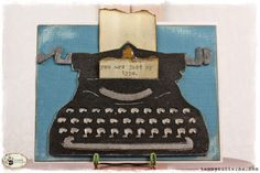 Made with a Sizzix machine. Vintage typewriter bigz die from the Tim Holtz Alterations collection. Never heard of Sizzix before today. Cool Cards, Diy Cards, Handmade Cards, Tim Holtz Dies, Sizzix Dies, Retro Typewriter, Vintage Typewriters, Scrapbook Cards, Scrapbooking
