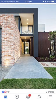 The richly textured surface of this kiln-fired Italian brick creates an eye-catching rustic exterior to a modern waterside home. Brick Cladding, House Cladding, Brick Facade, Exterior Cladding, Brickwork, Facade House, Modern Brick House, Modern House Facades, Modern House Design