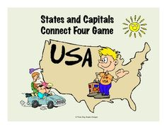 This printable connect and color four game features the same gameboard format used by the popular childrens game. Students play with a partner and color in a circle for each correct answer. Great for review or as a way to reinforce all fifty states and capitals. Full instructions are included.