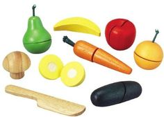 Amazon.com: Plan Toys Assorted Fruits and Vegetables (Solid Wood Version): Toys & Games