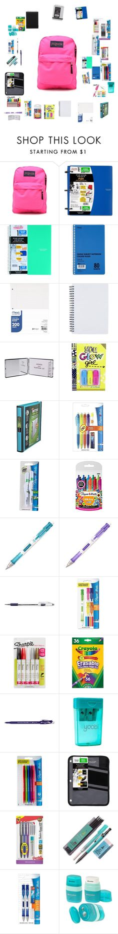 """""""Untitled #546"""" by gina143 ❤ liked on Polyvore featuring JanSport, Mead, Paper Mate, Pentel, Sharpie and Yoobi"""