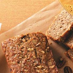 BEST GF banana bread -- Delicious!  Mods: I halfed it for one loaf; no nuts, added baking powder, 3 bananas, 1/3 yogurt, brown sugar.  Thin batter; baked for 60 min.  Super moist!