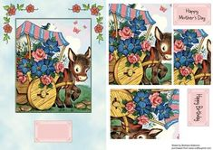 Floral Donkey Cart on Craftsuprint designed by Barbara Alderson - pyramid topper on a card front with a choice of sentiments - Now available for download!