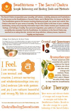 The Swadhistana or Sacral Chakra. Balancing crystals, gemstones, sound, affirmations, color therapy and aromatherapy. Visit our webpage for more information and resources.