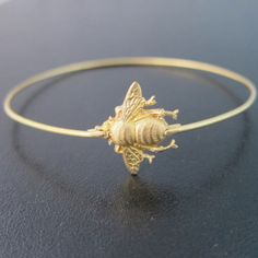 Bumble Bee Bracelet  Gold Bumble Bee Bangle by FrostedWillow, $15.95