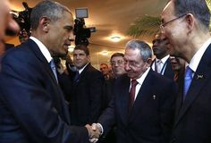 President Barack Obama (L) and his Cuban counterpart Raul Castro shake hands as U. Secretary General Ban Ki-moon (R) looks on, before the inauguration of the VII Summit of the Americas in Panama City April REUTERS/Panama Presidency/Handout via Reuters Barack Obama, Cuban Leader, Presidente Obama, Political Prisoners, Shake Hands, New York Post, Us Presidents, American Presidents, Panama City Panama