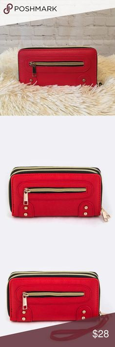 """Double Zipper Wallet & Wristlet Strap (Red) ★ Modern & Sophisticated ★ Dual Zip-Around Closure ★ Made of Vegan Leather ★ Detachable Wristlet Strap Included ★ Available in Black or Red ★ 7.75"""" (L) x 2"""" (W) x 4"""" (H)  THIS IS A GREAT WALLET!  When you first pick it up, you can't help but notice how it feels equally """"big and beefy"""" and """"nice and compact"""" both at the same time.  If you've outgrown the limitations of your old single-zipper wallet, this is a nice and natural next step up.  Comes in…"""