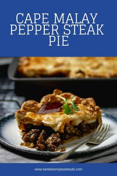 This home made Cape Malay Pepper Steak Pie is flavorful tender steak cubes in a rich onion and mushroom gravy between layers of buttery flaky pastry. Turnover Recipes, Pie Recipes, Cooking Recipes, Picnic Recipes, Picnic Ideas, Picnic Foods, Lamb Recipes, Tofu Recipes, Healthy Recipes