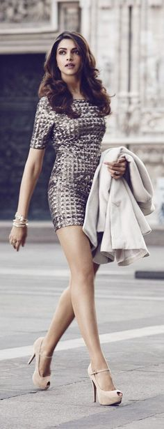 @roressclothes clothing ideas #women fashion Glam mini dress with neutral pump heels