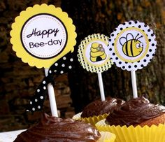 Honey Bee Printable Party Supplies and Fill-In Party Invite
