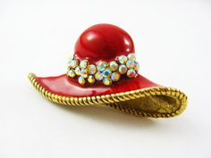 Red Hat Brooch Gold Hat Pin Brooch - by FemByDesign- Click Here For More Pictures: https://www.etsy.com/listing/177312852/red-hat-brooch-gold-hat-pin-red-and-gold?ref=shop_home_active_9  Now ONLY 14.99!