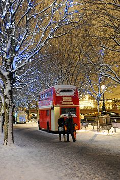 A unusual mobile fish and chips, food truck, run from a bright red London double decker bus. This day it was parked near the Southbank Centre alongside the River Thames. The perfect take-away on a snowy winter's day.