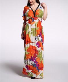 Orange & Green Foliage Cape-Sleeve Maxi Dress - Plus Too