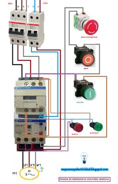 arranque y parada con paro de emergencia motor t — Postimage.org Electrical Panel Wiring, Electrical Circuit Diagram, Electrical Installation, Electrical Work, Electrical Engineering Books, Electrical Projects, Electronic Engineering, Brewery Equipment, Cctv Camera Installation