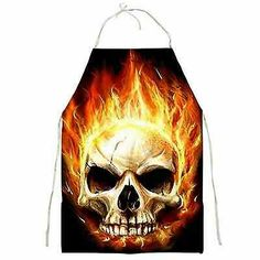 Burning Skull Full Print Cotton Apron for the Ultimate BBQ Cook