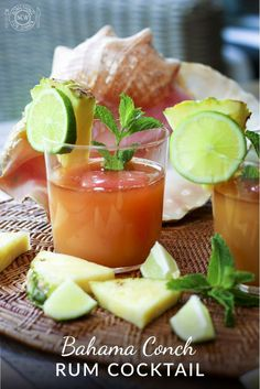 This tasty pineapple, rum & guava juice cocktail was invented while boating through the Bahamas. It was inspired by the beautiful conch shells. Conch Recipes, Mezcal Tequila, Cocktail Juice, Canned Juice, Guava Juice, Best Juicer, Conch Shells, Variety Of Fruits, Pineapple Juice