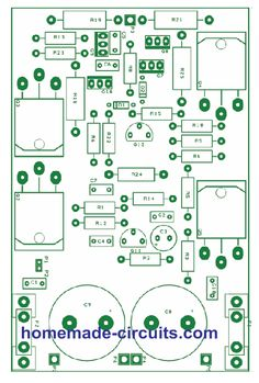 MOSFET based amplifiers as we all know are outstanding with their sound qualities and they can easily beat the performance of other counterparts based on power transistors or linear ICs. Circuit Board Design, Audio Amplifier, Circuit Projects, Circuit Diagram, Make It Simple, The 100, Homemade, Diy, Electronic Schematics