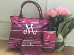 Pink Striped monogrammed bag personalized 3 by KingsCustomDesign