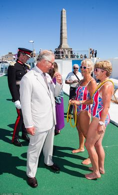Two ladies who made a particularly special effort having dressed in matching Union Jack pr...