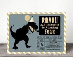 Dinosaur Birthday Invitation ROAR Invite by CreativeKittle