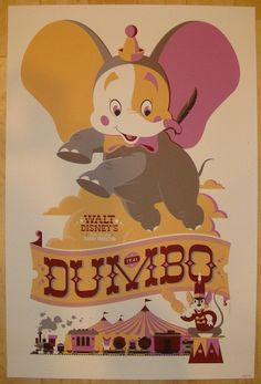 """2011 """"Dumbo"""" - Variant Movie Poster by Tom Whalen"""