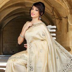 Cream Pure Dupion Silk Saree with Blouse