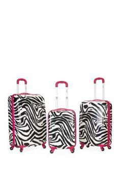 Rockland 3 Piece Safari Luggage Set - Pink Zebra - Pink - One Size