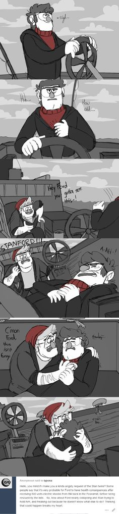 """Just think about those 500 volts more that Bill was talking about… """"Whoa! don't have a heart attack, you're not 92 yet"""" // so here it is. part 1 Gravity Falls Comics, Gravity Falls Au, Gundam, Dipcifica, Fall Over, Disney Pixar, Disney Animation, Disney Magic, Reverse Falls"""