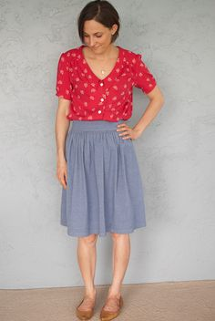 Samantha's Mimi blouse and Clemence skirt (both sewing projects in Love at First Stitch)