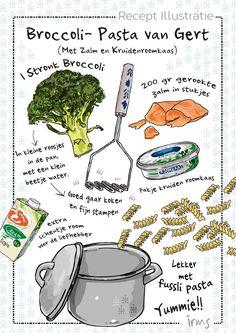 Pasta met broccoli en zalm een heerlijk makkelijk en snel gerecht voor elke dag! Broccoli is een van de gezondste groente en zou je elke week moeten eten. Met dit recept is dat heel eenvoudig. Ook kinderen zullen dit heel lekker vinden. Probeer het uit! De mini poster van dit recept is gratis te downloaden op mijn blog. Menu Design, Food Design, Recipe Drawing, Baby Food Recipes, Healthy Recipes, Food Journal, Food Drawing, Cooking With Kids, Food Illustrations