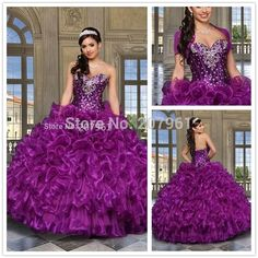 Aliexpress.com   Buy 2016 Purple Cheap Quinceanera Dresses Sweethert  Crystals Orgabza Ball Gown Vestidos De 15 Anos Sweet 16 Dresses from  Reliable gowns ... c3ab82fe1cf5