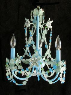 Seaglass Chandelier Beach Cottage Chic Coastal Decor Lighting Fixture