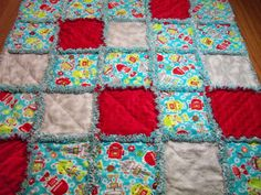 Baby Rag Quilt Robot Quilt by LoveableQuiltsNMore