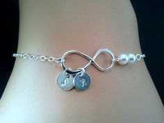 Infinity love PERSONALIZED INITIAL with Peals by LaLaCrystal,