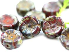 12mm Pansy flower bead, Dark Red Picasso Czech glass Flowers, Daisy, Rustic floral beads - 10pc - 0355 by MayaHoney on Etsy