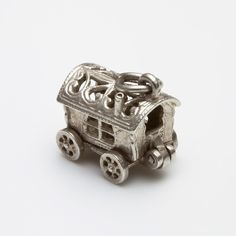 British VINTAGE Solid Sterling Silver Charm - Gypsy Caravan opens to reveal a Fortune Teller
