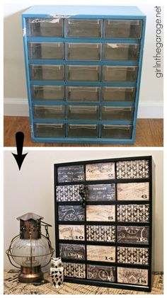 Upcycled Garage Storage Organizer - Girl in the Garage : Filthy to fancy garage storage organizer makeover - Girl in the Garage Gross to Glamorous! Upcycled garage storage for screws and bolts gets a makeover to French chic storage organizer. Craft Room Storage, Craft Organization, Garage Storage, Storage Ideas, Shoe Storage, Bead Storage, Storage Drawers, Jewellery Storage, Craft Storage Containers