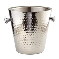 Ice Buckets - Elegance Hammered Stainless Steel Doublewall Champagne Bucket 9 Silver -- Check out the image by visiting the link.