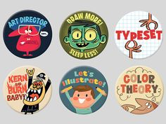 """Sneak peek at a series of twenty design/illustration/creative centric magnets that I'll be adding to my store very soon :) ------- 1.25"""" rare-earth based magnets w/ custom packaging They will be s..."""