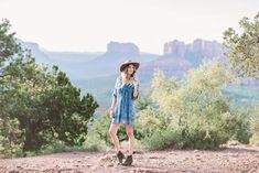 Sharing this look featuring a blue shift dress, felt fedora hat, and booties on Dash of Darling