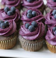 Recipe for Blueberry Cupcakes with Blueberry Cream Cheese Frosting Recipe ~ top with some blueberries :)