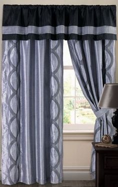 Image detail for -. Black/Silver Curtains and Valances Windows by Lush Decor at Home Decor Black And Silver Curtains, Black Curtains, Cool Curtains, Rod Pocket Curtains, Panel Curtains, Window Panels, Window Coverings, Kitchen Window Treatments, Kitchen Curtains