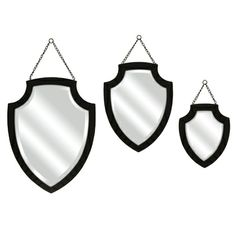 Crestly Black Wall Mirrors - Set of 3