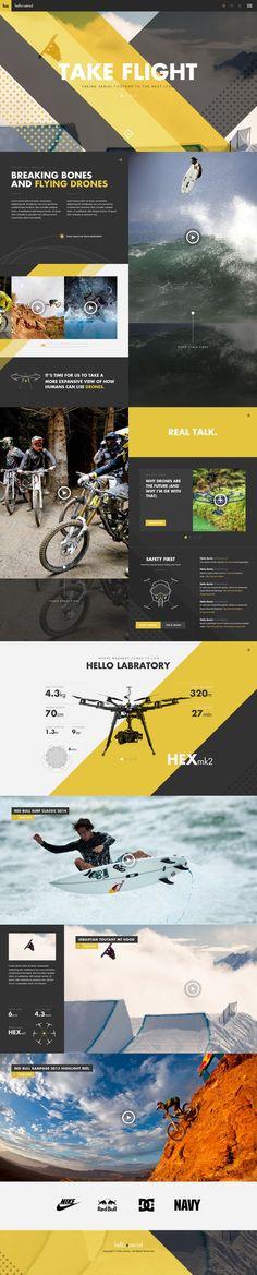 Hello Aerial Full by Gene Ross Layout Design, Page Design, Web Layout, Ui Design, Sport Design, Website Design Inspiration, Layout Inspiration, Pag Web, Design Responsive