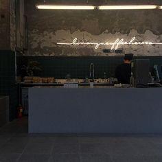<decorative lighting for walls☕️ Bar Design, Coffee Shop Design, Signage Design, Store Design, Restaurant Concept, Cafe Restaurant, Restaurant Design, Cafe Shop, Cafe Bar
