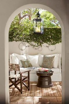 Most designs for projects come from a little inspiration, like from beautiful patios. They can really help you start thinking about what your patio could look like. Outdoor Rooms, Outdoor Gardens, Outdoor Furniture Sets, Outdoor Seating, Outdoor Kitchens, Rustic Furniture, Outdoor Sofa, Antique Furniture, Furniture Ideas