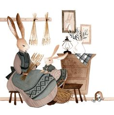 Mommy Daughter Time Art Print by Vanessa Gillings - X-Small Family Illustration, Cute Illustration, Framed Art Prints, Canvas Prints, Bunny Art, Time Art, Pretty Art, Art Reference, Art Drawings